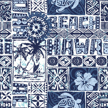 Hawaiian Vintage Style Tribal Tapa Fabric Vector Seamless Pattern
