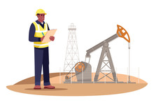 Oil Extraction Engineering Semi Flat RGB Color Vector Illustration. Oil Rig Operator. Petroleum Production. Gas Industry Male Worker Isolated Cartoon Character On White Background
