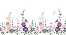 Beautiful Horizontal Seamless Floral Pattern With Watercolor Summer Mallow Flowers. Stock Illustration.