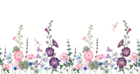 Panel Szklany Ogrody Beautiful horizontal seamless floral pattern with watercolor summer mallow flowers. Stock illustration.