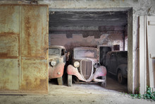 Lost Oldtimers In Old Barn