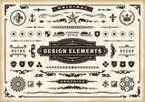 Vintage Original Design Elements Set. Editable EPS10 vector illustration in retro style with transparency.