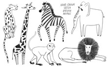 Set Of Isolated African Animal...