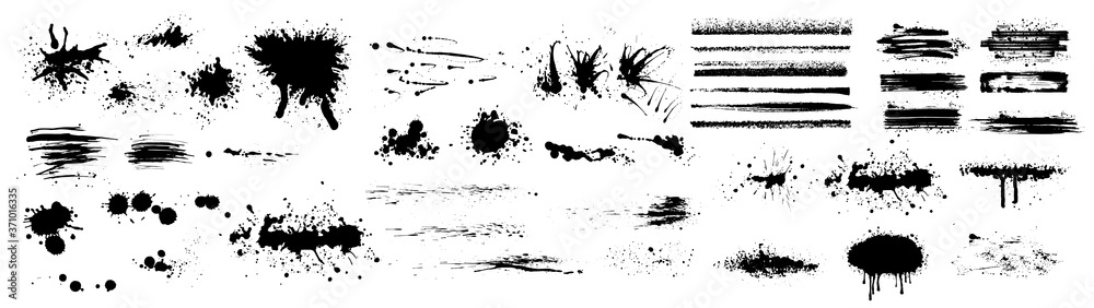 Fototapeta Ink splashes. Black inked splatter dirt stain splattered spray splash with drops blots isolated. Ink splashes stencil. High quality manually traced. Drops blots isolated. Vector illustration