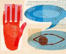Speech Bubble, Eye, Binary Code And Stop Gesture