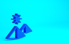 Blue Egypt Pyramids Icon Isolated On Blue Background. Symbol Of Ancient Egypt. Minimalism Concept. 3d Illustration 3D Render.