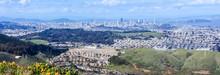 San Francisco Panoramic Views As Seen From San Bruno Mountain Top. San Bruno Mountain State Park, San Mateo County, California, USA.