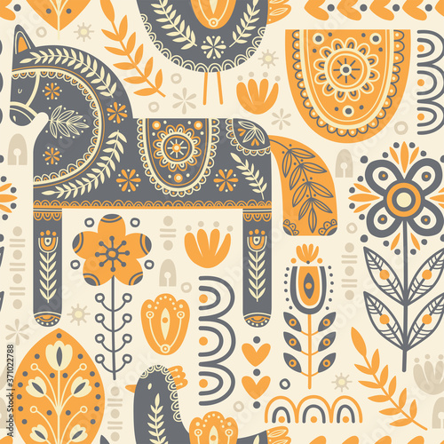 Photo Seamless pattern in scandinavian style with horse and bird, tree, flowers, leaves, branches
