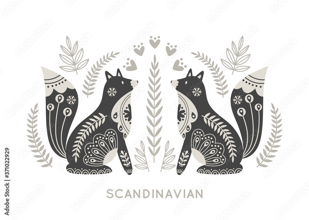 Illustration in scandinavian style with fox and floral elements: flowers, leaves, branches. Folk art. Vector nordic background with ornaments. Home decorations. Black and white.