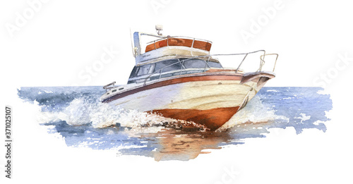 Fotografiet A speedboat (motorboat) at sea hand drawn in watercolor isolated on a white background