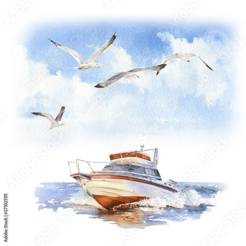 Fototapeta A speedboat (motorboat) and a seagulls flock at sea   hand drawn in watercolor isolated on a white background