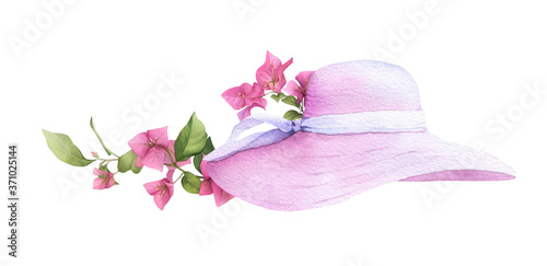 Fényképezés A female pink sun hat with the bougainvillaea flowers hand drawn in watercolor isolated on a white background