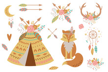 Kids Boho Clipart For Nursery Decoration. Cute Baby Teepee, Fox, Feathers, Arrows, Dreamcatcher Baby Shower Elements