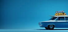 Blue Old Timer Car With Surfboard And Suitcases On Top In Front Of The Empty Blue Mockup Background Wall, 3D Illustration
