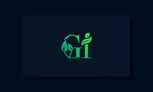 Minimal Leaf Style Initial GI Logo.
