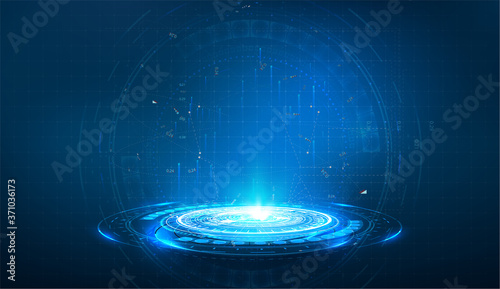 Obraz Portal and hologram futuristic circle on blue isolate background. Abstract high tech futuristic technology design. round shape. Circle Sci-fi elements with light and lights. Vector illustration - fototapety do salonu