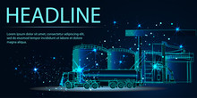 Oil Truck. Fuel Tanker And Tank Farm. 3d Abstract Vector Illustration. Low Poly Wireframe