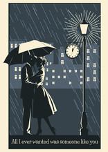 Romantic Couple In Love With Umbrella Under The Rain, Romantic Illustration Retro Style, Night Scene