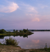 Evening Dusk On Summer Valley Lake. Natural Seasonal, Weather, Countryside Beauty Concept And Background Scene.