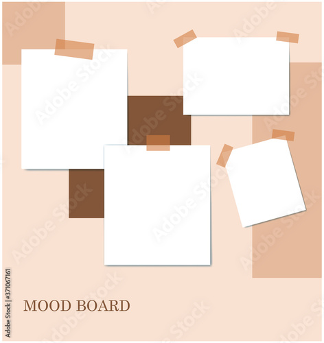 Fototapeta Sticky notes brown color mood board template. Decorative vector collage composition for office memos pad, pins, sticky notes board and duct tape notes, presentation and photo frame obraz