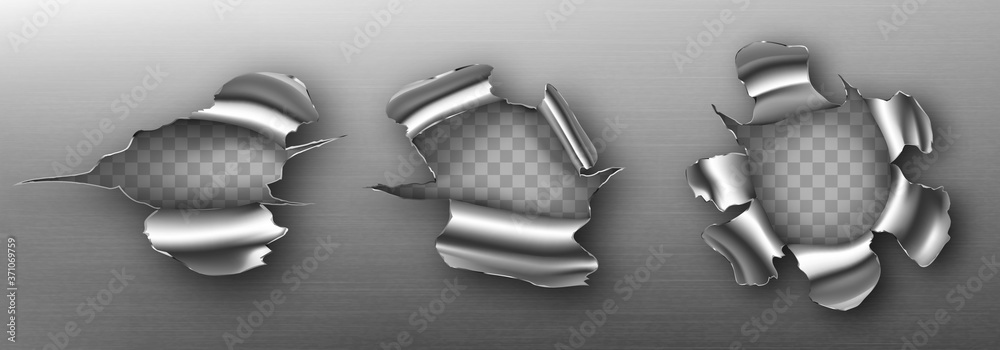 Fototapeta Metal rip holes with curly edges, ragged cracks, cut damage on steel sheet. Torn slash, gun aperture design element isolated on transparent background Realistic 3d vector illustration, clip art