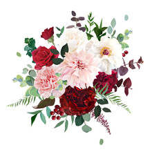 Classic Luxurious Red Rose, Pink Carnation, Dahlia, White Peony, Berry, Burgundy Astilbe