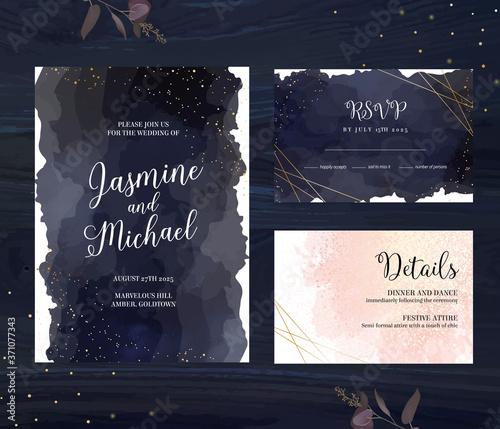 Fotografia, Obraz Elegant wedding cards with night sky, golden glitter and blush pink watercolor a
