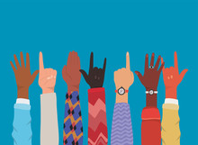 Diversity Of Hands Up Making Symbols Design, People Multiethnic Race And Community Theme Vector Illustration