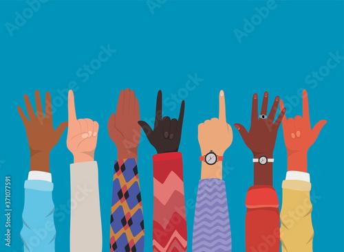 Fototapeta diversity of hands up making symbols design, people multiethnic race and community theme Vector illustration obraz