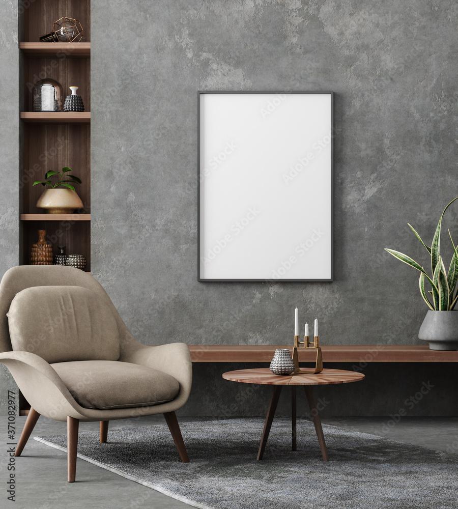 Fototapeta Mockup poster in loft interior, industrial style, 3d render