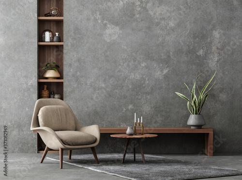 Living room interior in loft, industrial style, 3d render Fototapete