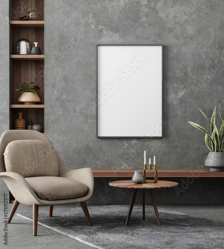 Photo Mockup poster in loft interior, industrial style, 3d render