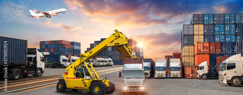 Logistics and transportaIndustrial Container Cargo freight ship, forklift handli Fototapete