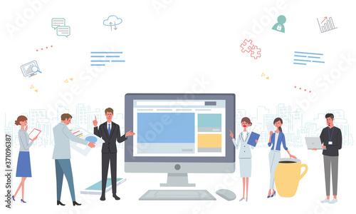 オフィスで働く人々 パソコン ネットワーク アイコン イラスト Fototapete
