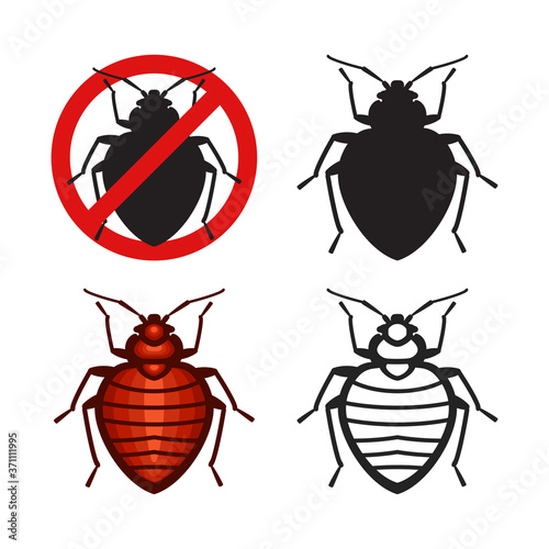 Set of vector bed bugs insect icons Fotobehang