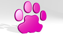 PAW 3D Icon Casting Shadow - 3D Illustration For Animal And Cat