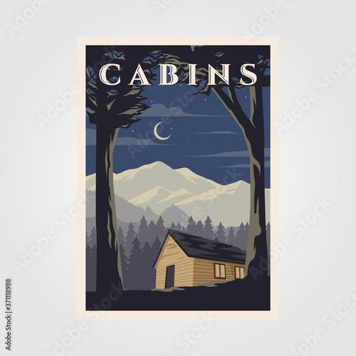 Vászonkép vintage cabins poster vector illustration design, night camp in cottage backgrou