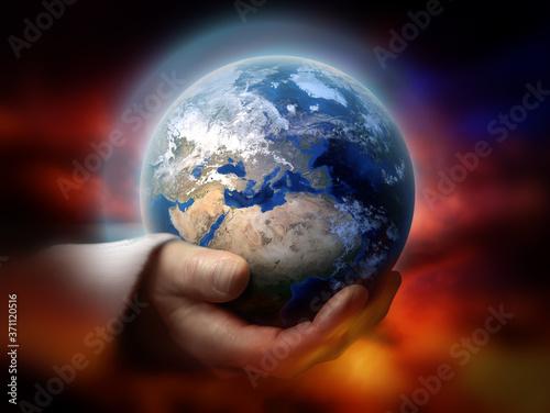 God holding the earth conceptual theme Canvas Print