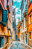 Fototapeta Uliczki - View of the most beautiful places of Venice, narrow streets, houses, city squares. Italy.