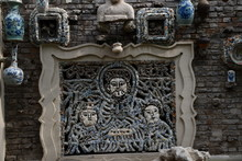 The Picture Made Of Porcelain On The Wall Of The Chinese Traditional Authentic House In Historical District Of Tianjin Covered With Porcelain China
