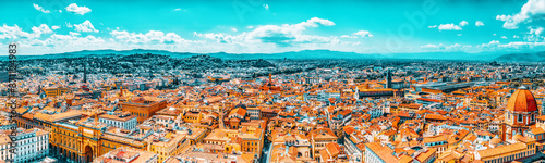 Fotografering Beautiful landscape above urban and historical view of the Florence from Giotto's Belltower (Campanile di Giotto),city of the Renaissance stand on Arno river