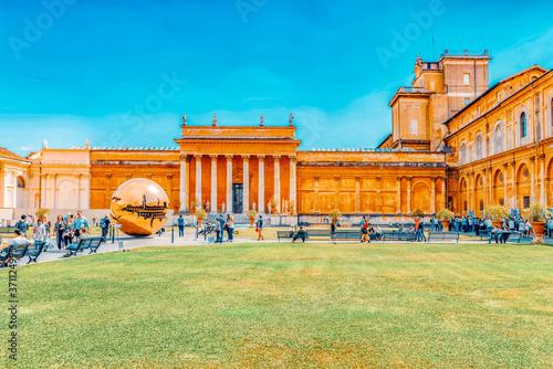 VATICAN, VATICAN- MAY 09, 2017 : Enclosed court of the Vatican, Sphere Within Sphere (Sfera con sfera) is a bronze sculpture by Italian sculptor Arnaldo Pomodoro Fototapet