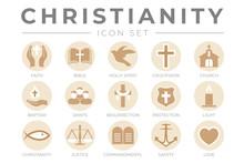 Round Christianity Icon Set Wi...