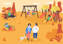 Autumn Playpark With Visitors Flat Color Vector Illustration. People Spending Leisure Time Outdoors. Children Recreation Area. Autumn Recreational Zone 2D Cartoon Characters With Trees On Background