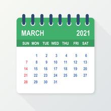 March 2021 Calendar Leaf. Calendar 2021 In Flat Style. Vector Illustration.