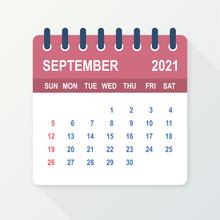 September 2021 Calendar Leaf. Calendar 2021 In Flat Style. Vector Illustration.