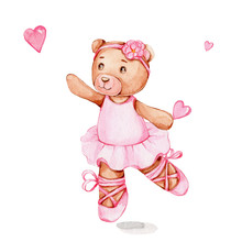 Cute Cartoon Bear Ballerina In Pink Dress And Pink Heart; Watercolor Hand Draw Ilustration; Can Be Used For Baby Shower Or Cards; With White Isolated Background