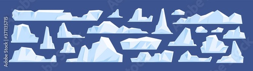 Cuadros en Lienzo Set of floating glacier, iceberg in north sea or arctic ocean