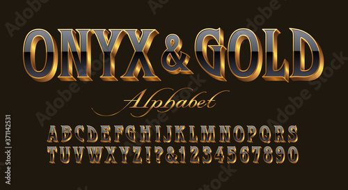 Fotografija An Elegant and Ornate Luxury Alphabet with the Appearance of Black Onyx Stone Set in Gold 3d Letters