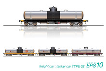 VECTOR EPS10 - Tanker Car, Type Of Freight Car Railroad. Isolated On White Background.
